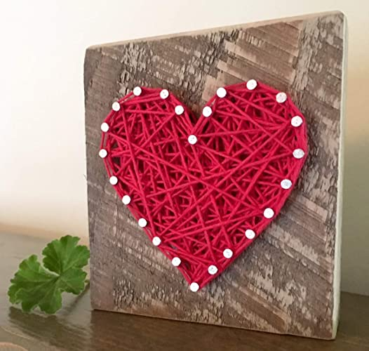 Sweet & small red string art heart block sign. Gifts for Valentine's Day, home accents, Wedding favors, Anniversaries, housewarming, teachers, congratulations & just because gifts by Nail it Art.