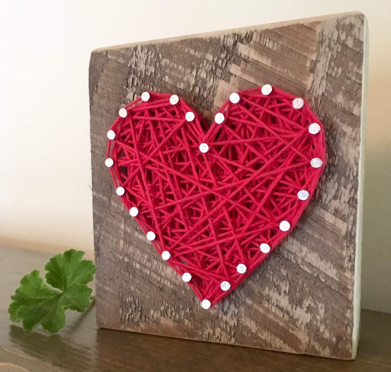 CDM product Sweet & small red string art heart block sign and gift. Great for Wedding favors, Anniversaries, housewarming, teachers, congratulations & just because gifts by Nail it Art. big image