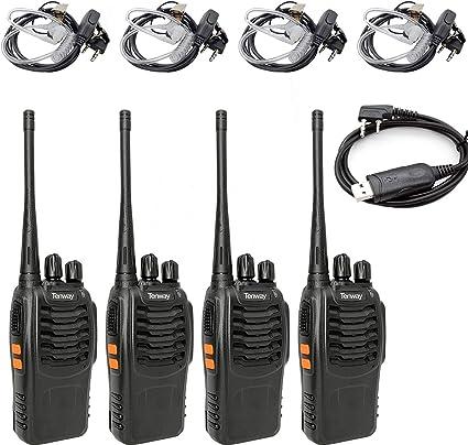 Tenway Walkie Talkie 4 Pack Recargable de Largo Alcance 16 CH Radio de Dos vías y Tubo acústico encubierto de Aire Auricular y Cable de programación USB: Amazon.es: Electrónica