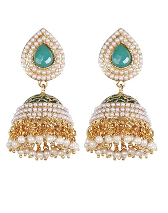 Rajwada Arts Green Color Studded Traditional Jhumki Women's Earrings at amazon