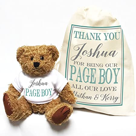 Personalised wedding teddy bear Thank You Pageboy and gift bag Frame ...