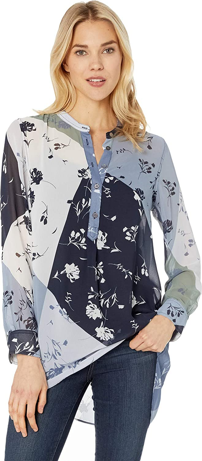Antique bluee Vince Camuto Womens Long Sleeve Floral Patchwork Henley Tunic