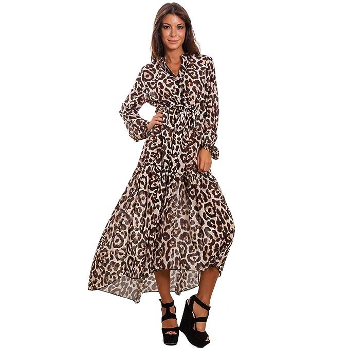 f3699e5893dae Toocool - Vestito Donna Scollato Leopardato Leo Animalier Elegante Abito  Velato GI-98204  Taglia Unica