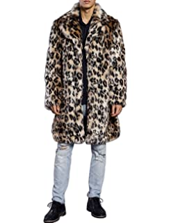 ZLSLZ Mens Winter Warm Leopard Faux Fur Long Length Luxury Outerwear Coat Jacket