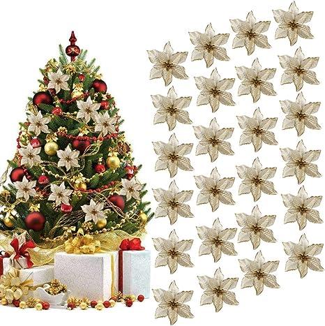 Foto Di Alberi Di Natale Decorati.Outgeek Ornamento Di Albero Di Natale 24pcs Glitter Fiore Artificiale Fiori Di Albero Di Natale Ornamento Di Decorazione Fiore Falso Di Natale Amazon It Casa E Cucina