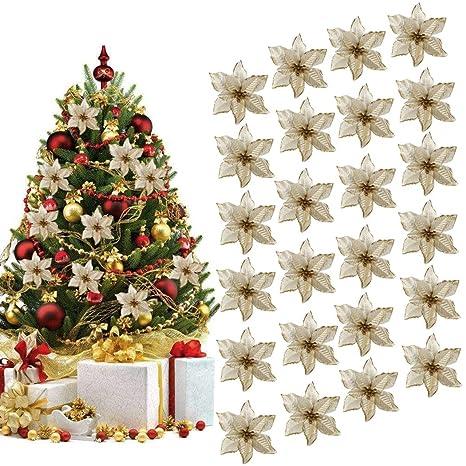 Immagini Fiori Natale.Ornamento Di Albero Di Natale Outgeek 24pcs Glitter Fiore Artificiale Fiori Di Albero Di Natale Ornamento Di Decorazione Fiore Falso Di Natale