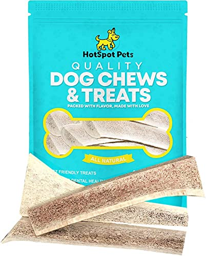 hotspot pets Small Premium Split Elk Antlers for Dogs – 4 -5 Inch Long Dog Chews 3 Pack Naturally Shed Antler Bone for Small Breed Aggressive Chewers – Made in USA – Promotes Dental Hygiene