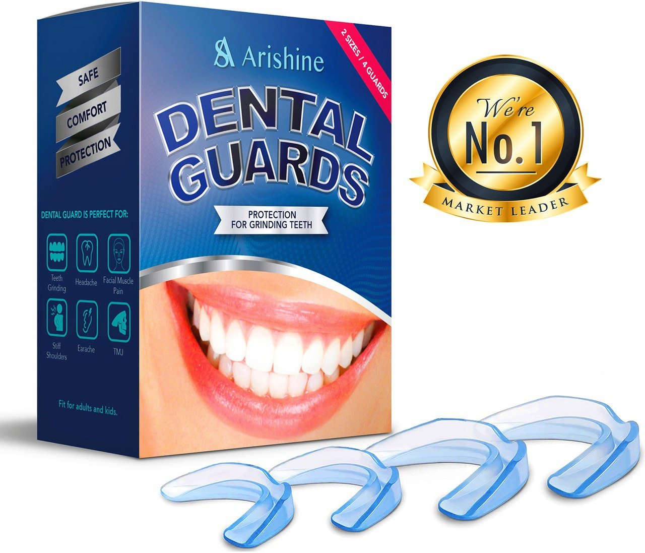 Professional Dental Guard-New Upgraded Anti Grinding Dental Mouth Guard,FDA Approved and BPA Free (Pack of 4)