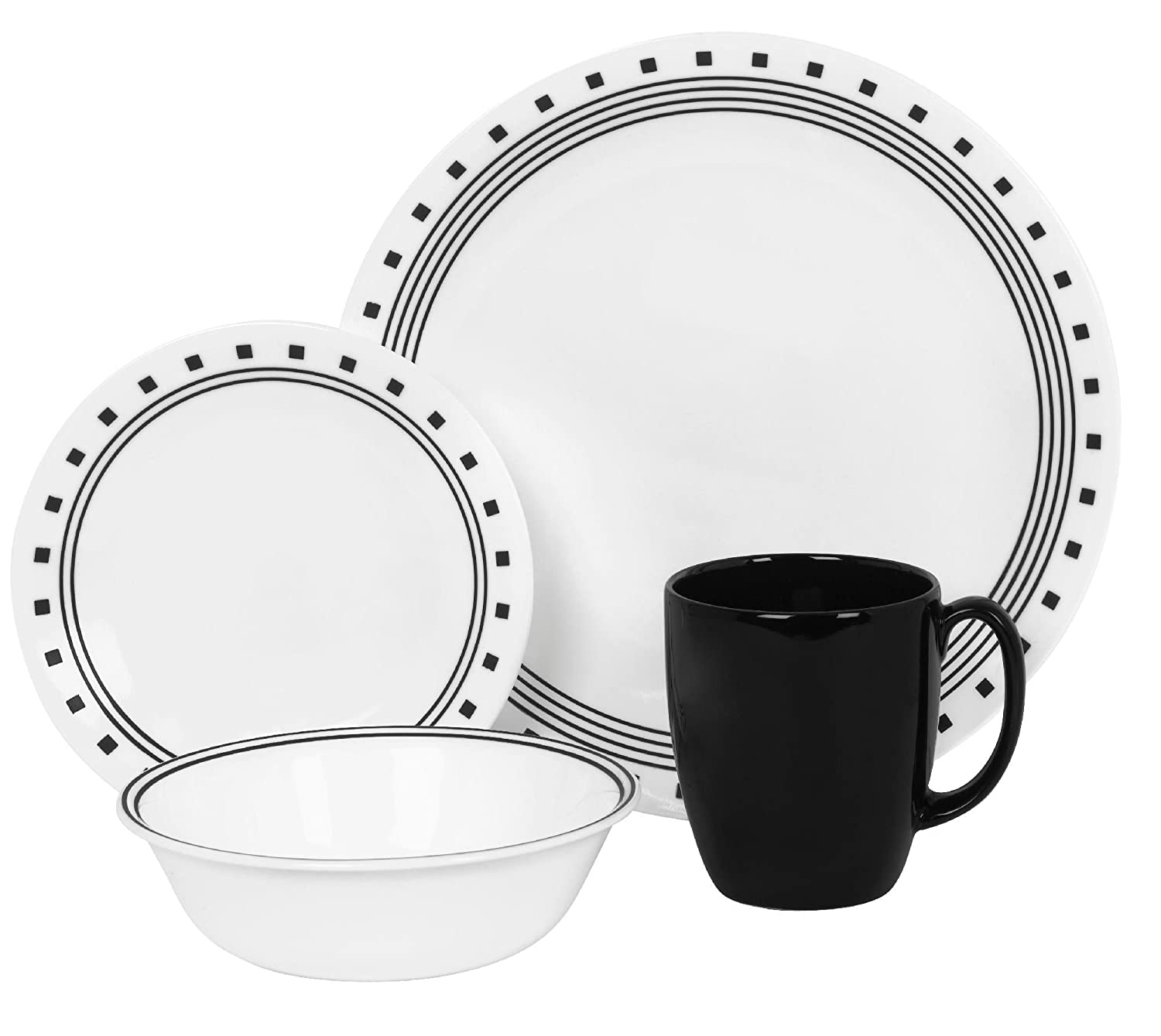 Corelle Livingware 16-Piece City Block Design Dinnerware, with Service for 4, Features Chip and Break Resistant Glass, is Microwave, Oven and Dishwasher Safe, with Bold and Bright Patterns, Scratch and Fade Resistant, with Stackable Design for Easy Storage