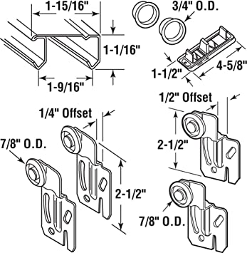 Slide-Co 161793 Bi-Pass Closet Track Kit 2 Door Hardware Pack 72