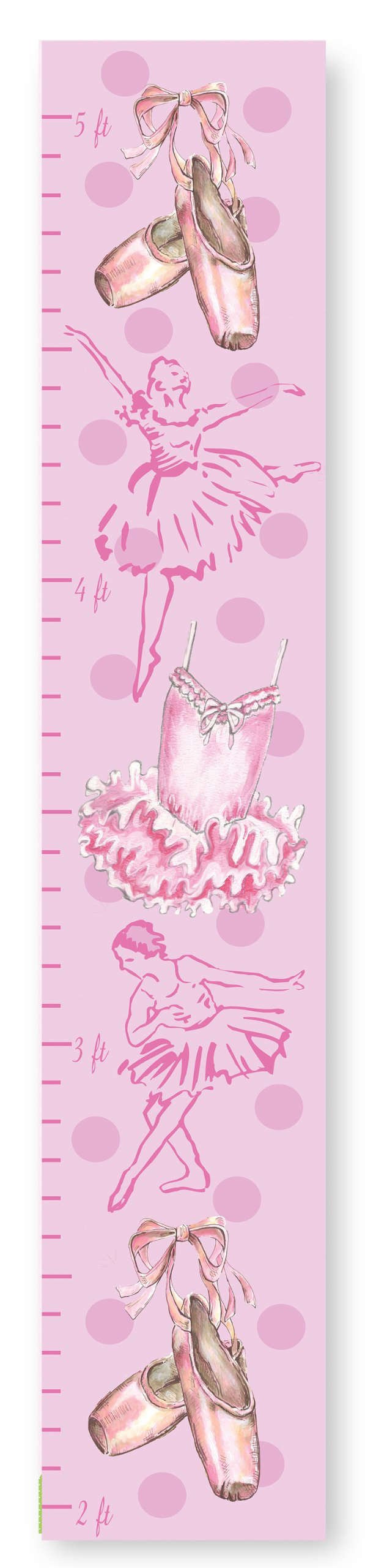 The Kids Room by Stupell Modern Ballerinas and Ballet Slippers Growth Chart, 7 x 0.5 x 39, Proudly Made in USA by The Kids Room by Stupell