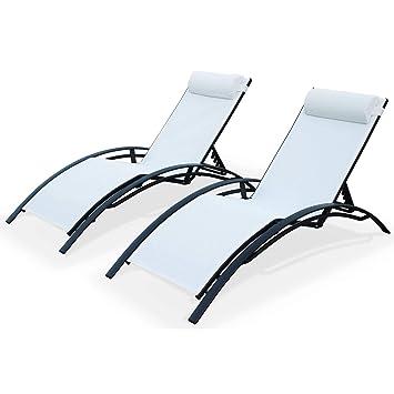 Alices Garden - Pareja de 2 tumbonas de Aluminio Antracita y textileno Blanco, Ideal Piscina