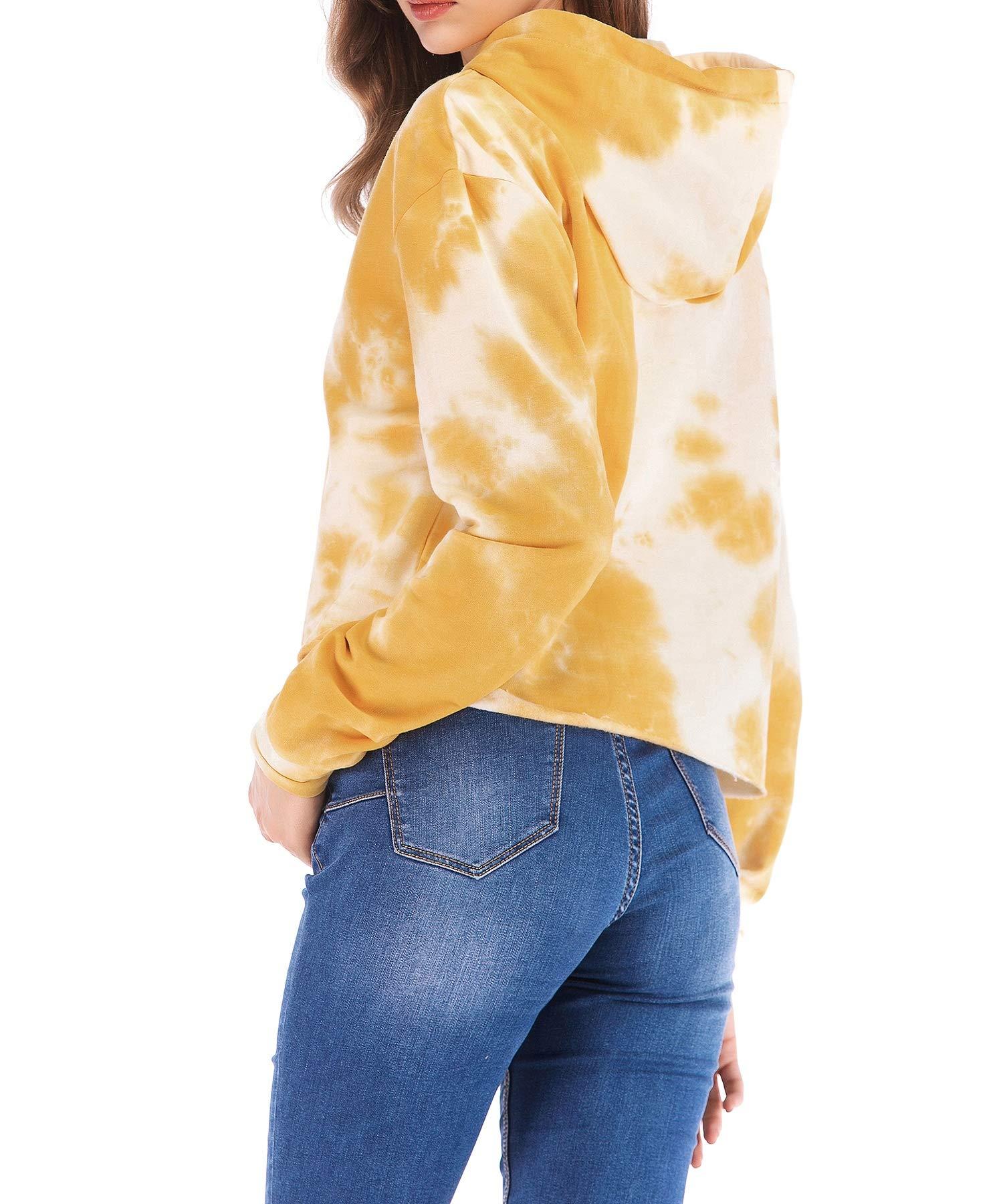 Eanklosco Womens Casual Long Sleeve Tie Dye Hoody (Yellow, XL)
