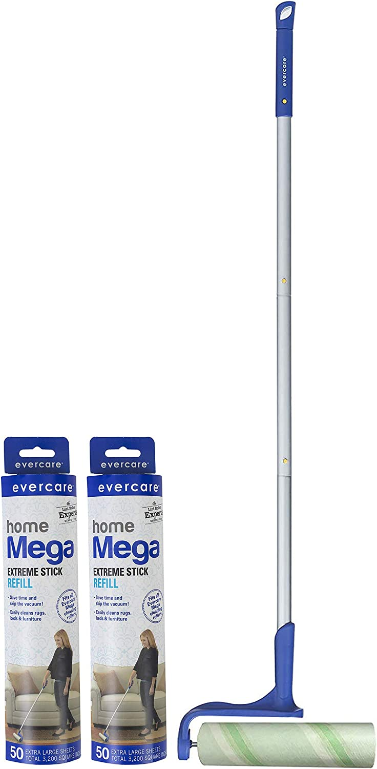 Evercare Mega Lint Roller with Expandable Pole with 25 Layers + Two 50 Layer Refills (125 Sheets Total)