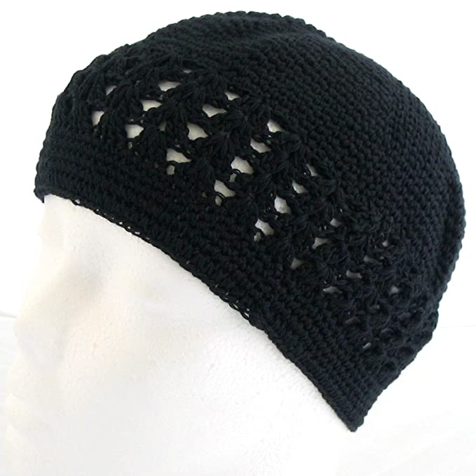 56fe636dea0 Knit Kufi Hat - Koopy Cap - Crochet Beanie (Black)  Amazon.ca ...