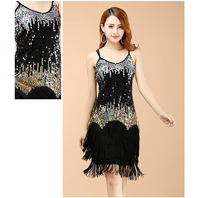 Amazon.com: BOZEVON Womens Sleeveless Elegant Latin Dress Fringed Sequins Tassel Ballroom Salsa Tango Skirt Dance Costume, Black, One Size: Clothing