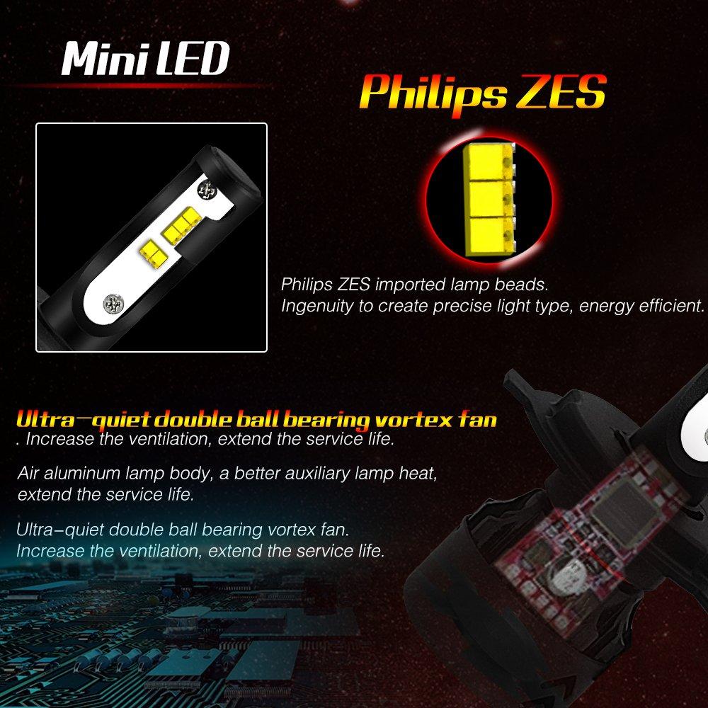 Mini8 H11 LED Headlight Bulbs mini8-Philips IP68 Waterproof 60W 6000LM 6000K Super Bright Cool White