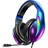 PeohZarr Gaming Headset Xbox One Headset PS4 Headset PS5 Headset, Flowing Aurora Lights Rainbow Lights Super Comfy…