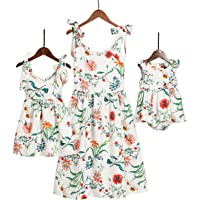 Mumetaz Mommy and Me Sweet Shoulder-Straps Floral Print Matching Dress