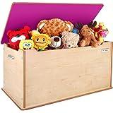 "Little Helper 90 X 46 X 43.5 Cm Large ""Toytidy"" Toy Storage Box with Slow-drop, No-slam Lid Safety Device (Maple\ Dark Pink)"