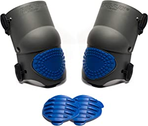 TSE Safety - TSE-TFLX-4-16-GEL Flex Work Knee Foam Padding Pads - Anti-Slip Strong Double Straps Comfortable Knee Protection Breathable Heavy Duty for Indoor and Outdoor Use – Black & Blue