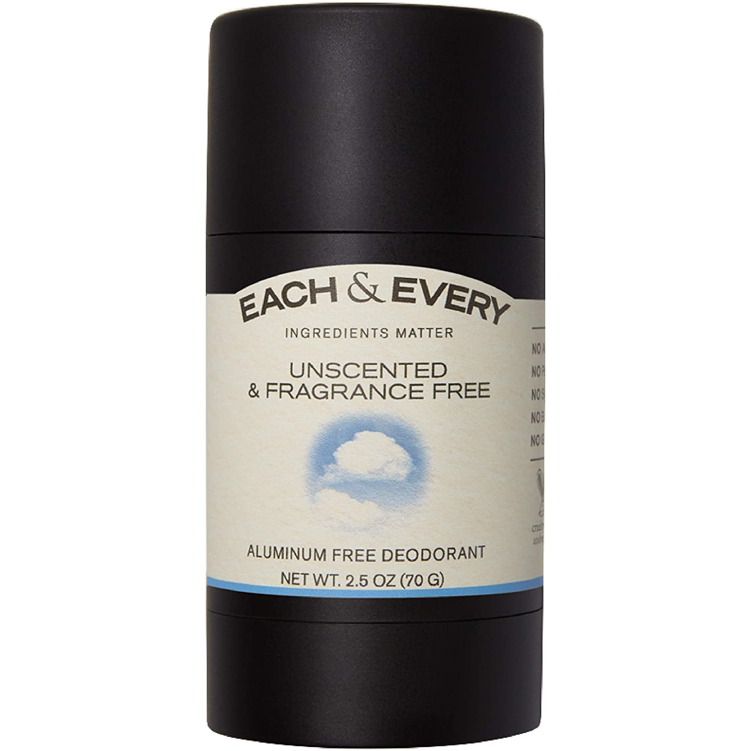 Each & Every All Natural Aluminum Free Unscented Deodorant for Women and Men, Cruelty Free Vegan Deodorant with Essential Oils, Non-Toxic, Paraben Free, Fragrance Free, 2.5 Oz.
