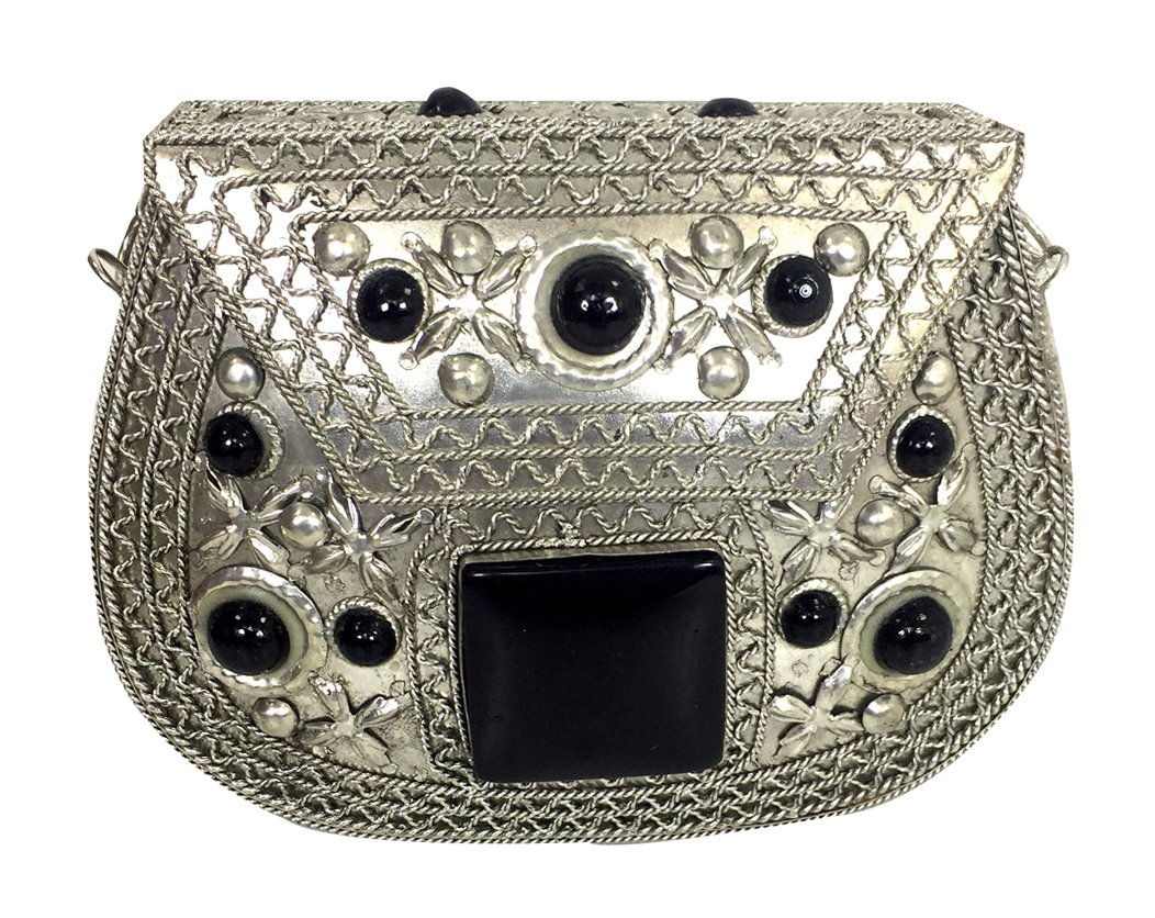 Batu Lee Handmade Antique Metal Resin and Glass Beads Work Clutch Wallet Handbag with Silver Chain Multi Elipse Shape for Women (Black)