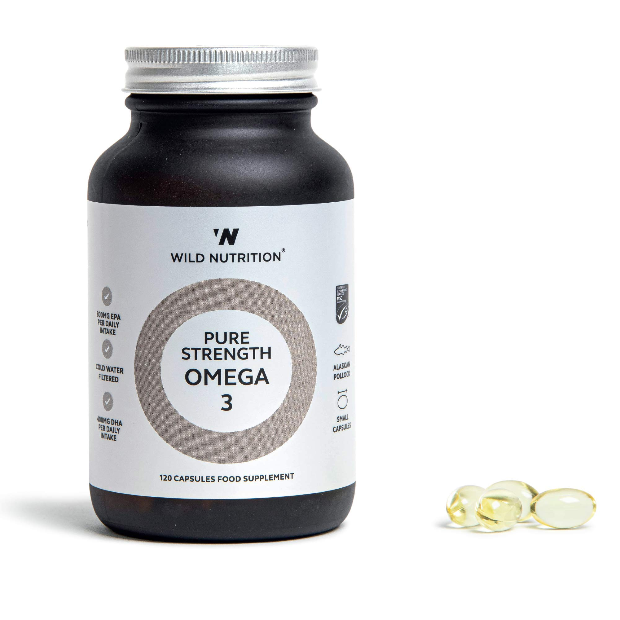 Wild Nutrition – Pure Strength Omega 3 – Natural Cold Extracted Fish Oil – 120 Capsules