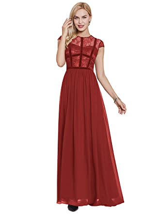 Sisjuly Womens Lace Cap Sleeve A-line Prom Evening Dresses 4 Red