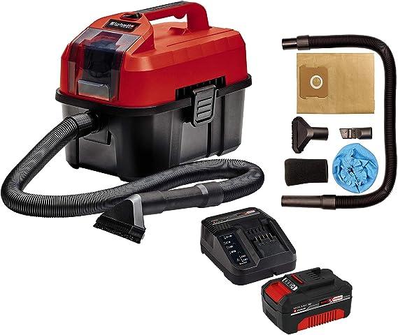 Einhell Aspirador seco-húmedo, Rojo, Negro + Kit cargador con batería (18 V, 3.0 Ah, tiempo de carga de 60 minutos): Amazon.es: Bricolaje y herramientas