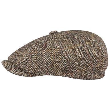 Stetson Hatteras Harris Tweed Wool Flat Cap Newsboy hat  Amazon.co.uk   Clothing 4a89f4d69b37