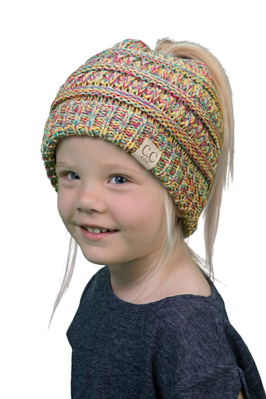 Funky Junque BeanieTail Children's Ponytail Messy Bun Beanie Solid Ribbed Hat BT2-3847-816.0641-FJ