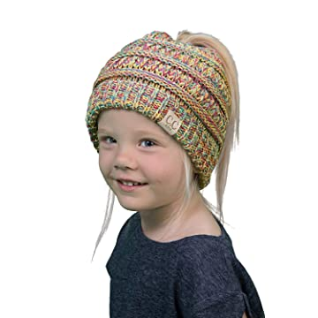 e81082d0dfa8 Funky Junque BeanieTail Children's Ponytail Messy Bun Beanie Solid Ribbed  Hat