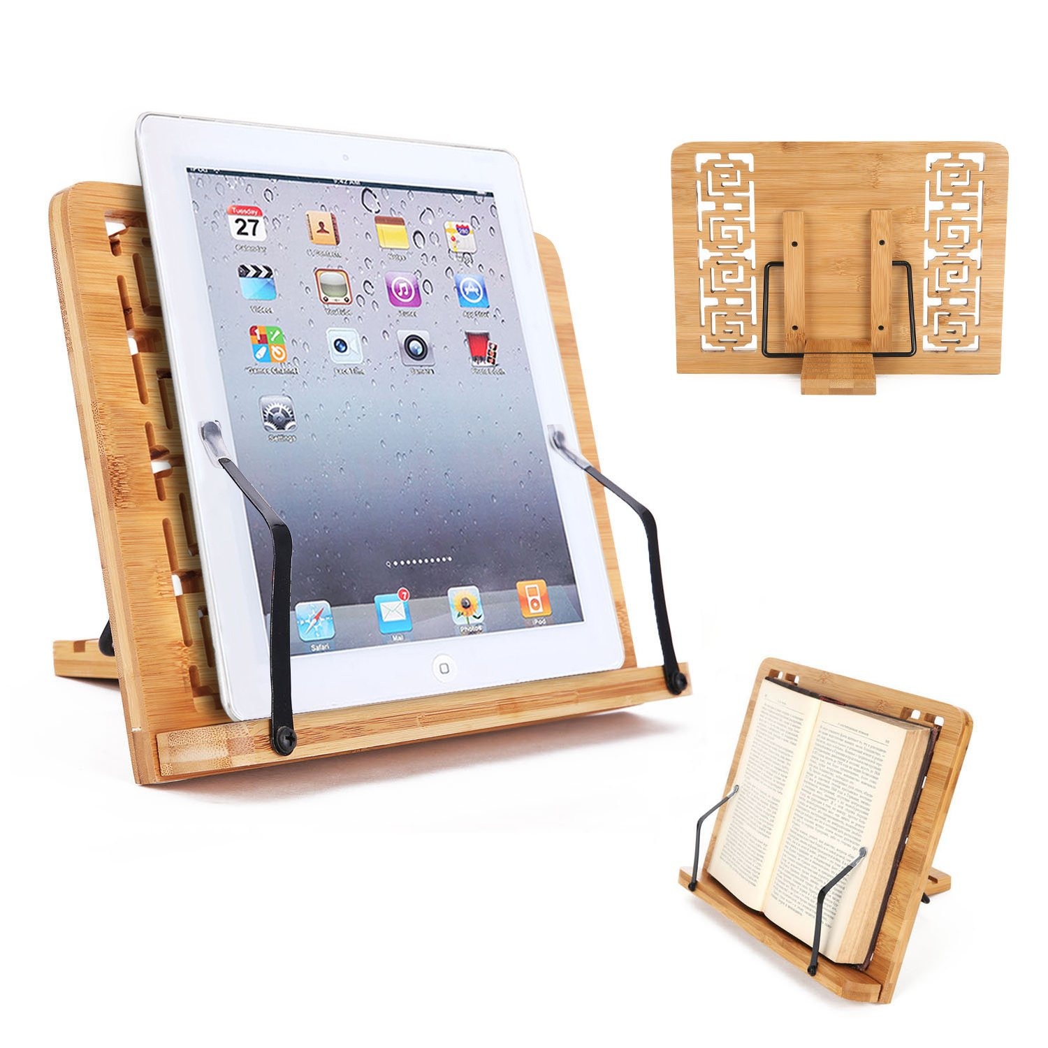 Desktop Book Stand Cookbook Holder Book Rest Reading Paper Typing Stand Tablet Foldable Tray Page Clips Portable Bamboo Book Holder for Desk iPad Laptop Textbook Recipe Document Music (Hollow)