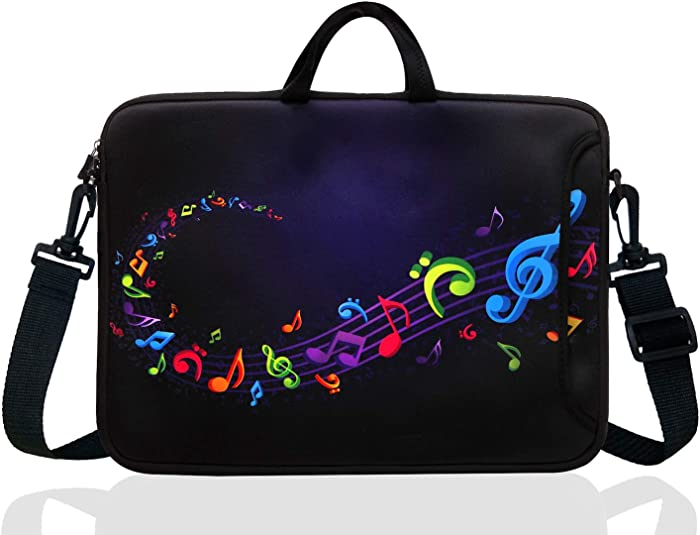 "17-Inch to 17.3-Inch Neoprene Laptop Shoulder Messenger Bag Case Sleeve For 16 16.5 17 17.3"" Inch Acer/Asus/Dell/Lenovo/HP/Macbook (Colourful Music Note)"