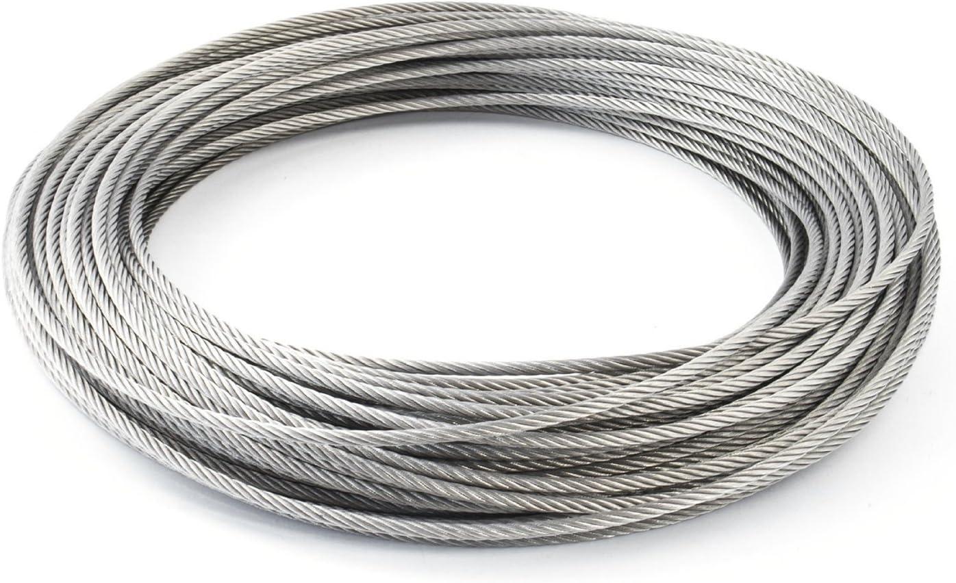 2 cosse coeur 2 serre-c/âbles /étrie SET 15m cable 4mm acier inox cordage torons: 7x19 beaucoup de tailles disponibles