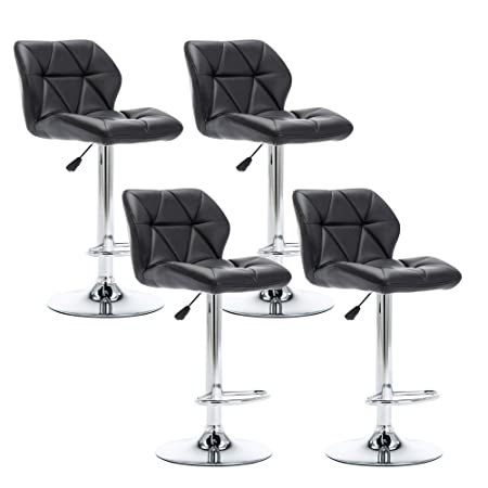 NOBPEINT Shell Back Adjustable Swivel Bar Stools, Black Set of 4