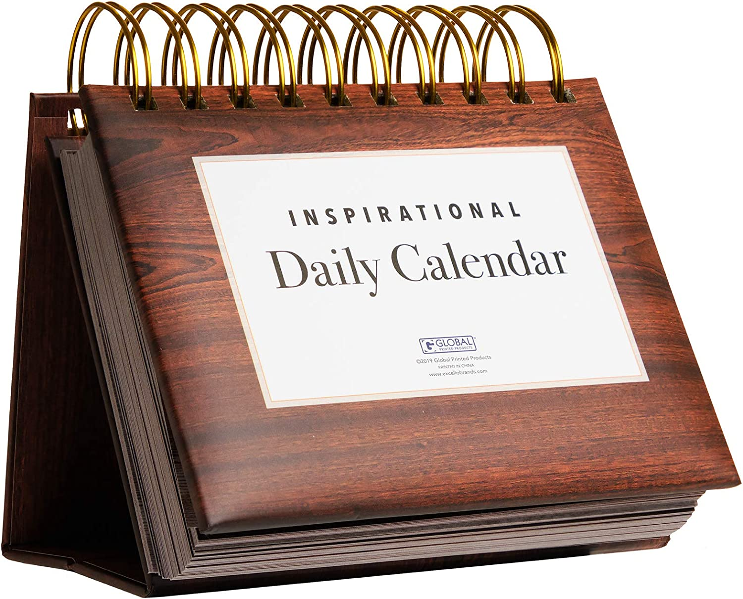 Motivational & Inspirational Perpetual Daily Flip Calendar with Self-Standing Easel (Woodgrain)