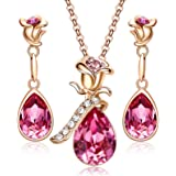 CDE Jewelry Sets for Women Rose Gold Jewelry Embellished with Crystal from Austria Mothers Day Jewelry Gifts Necklace and Ear