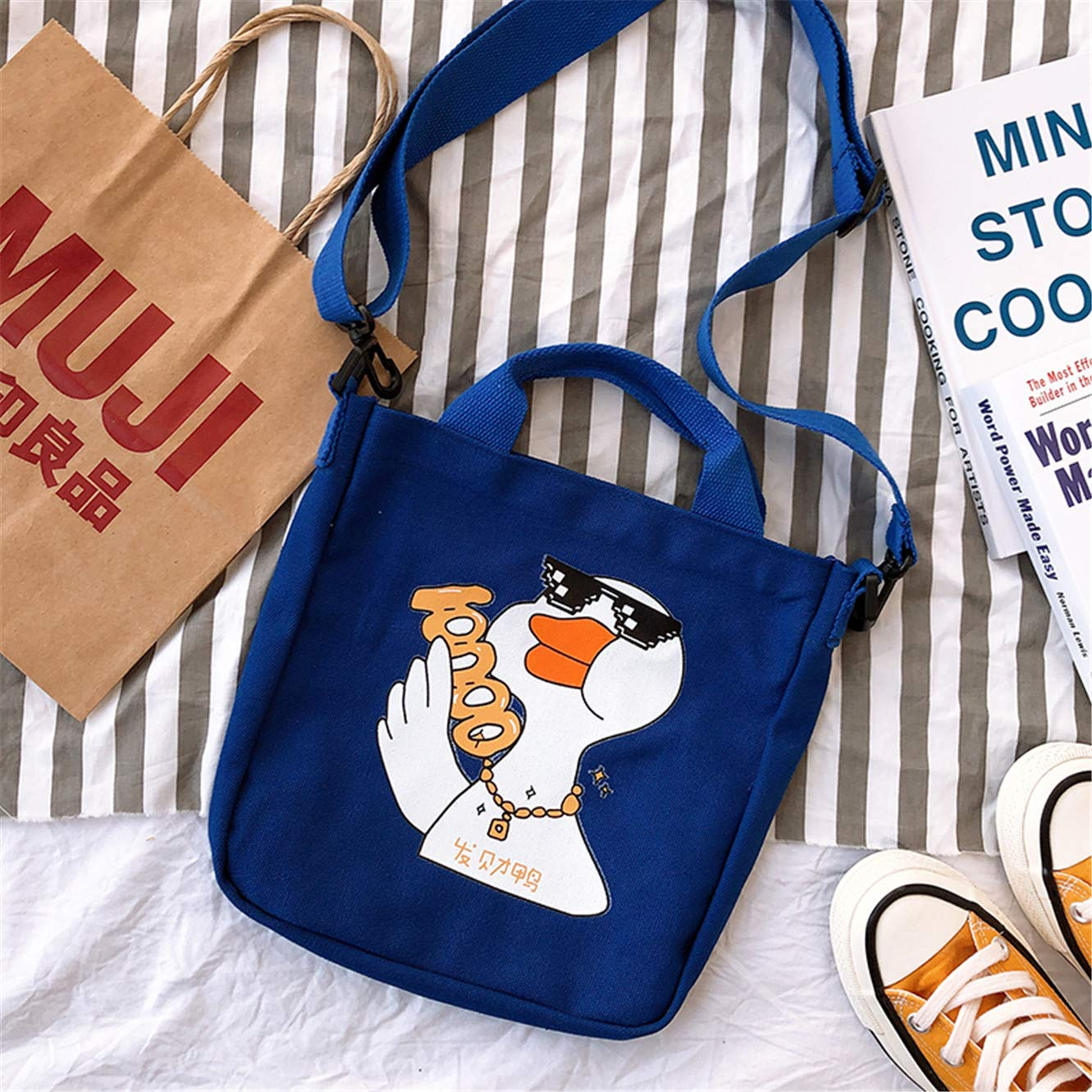 Canvas bag lady bag handheld overheated bag making odd slanting one shoulder pouring duck bag blue