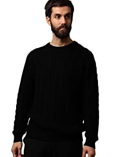 Wool Cable Crewneck Sweater 1213-105-3231: Black