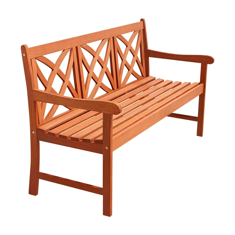 Vifah V205-1 Outdoor Baltic Wood Decorative Back Garden Bench, 5' Natural