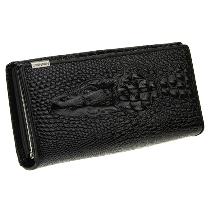 Amazon.com: FakeFace Mujer Piel larga portafolios cocodrilo ...