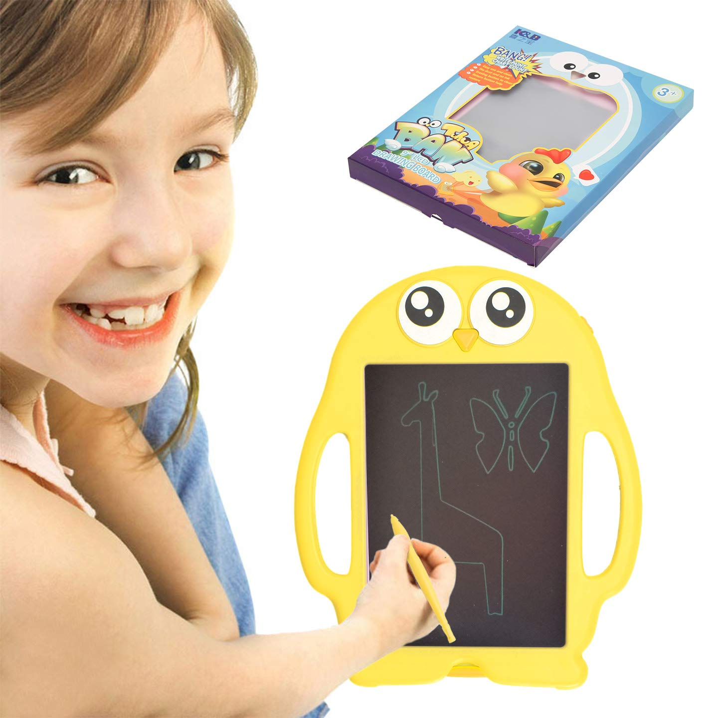 Happytime 9 Inch Portable Electronic Writing Drawing Board Gift Kids LCD Writing Drawing Tablet Board Handwriting Paper Penguin Board School Office BABY ART PARK