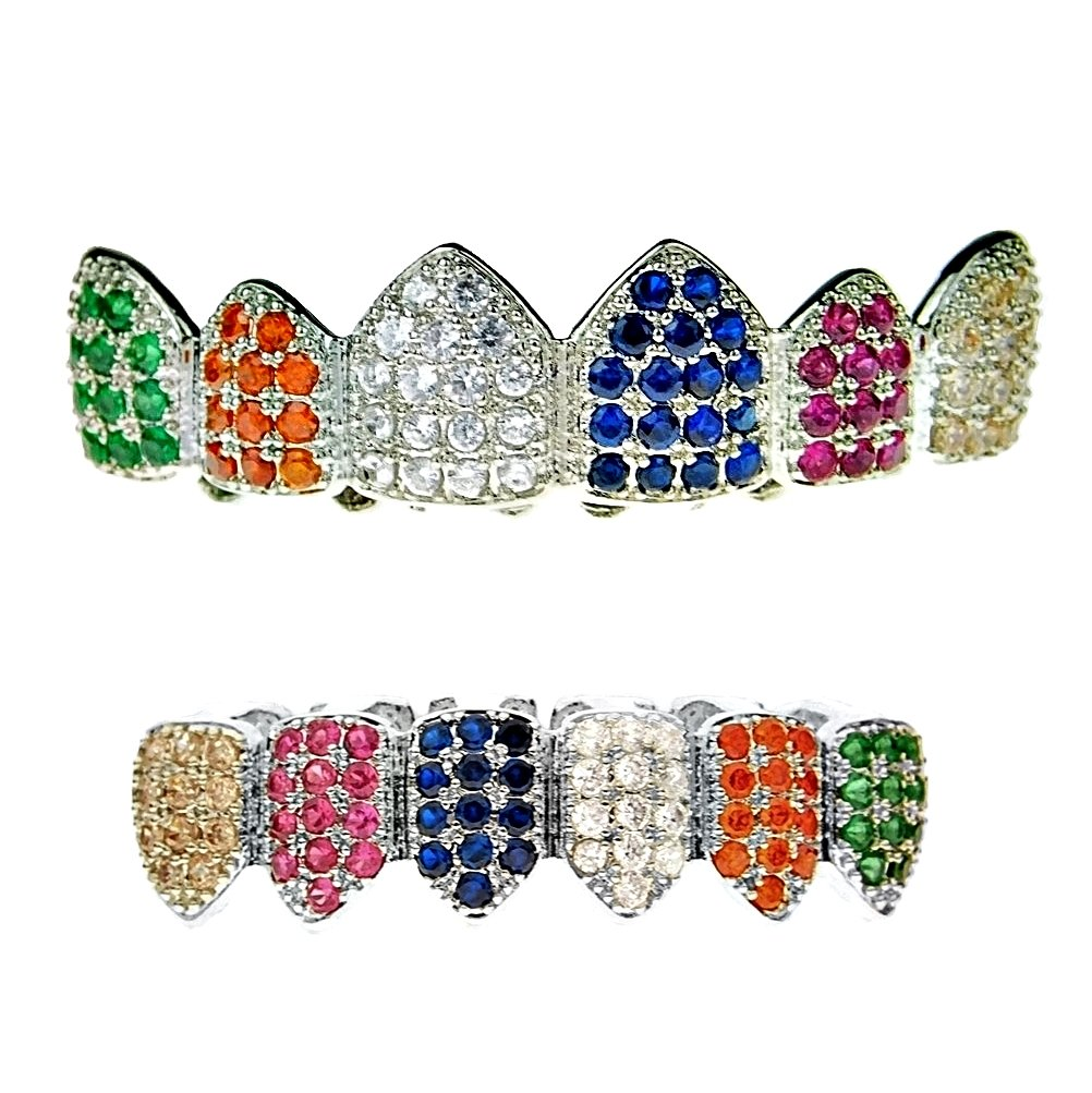 Grillz Set Multi-Color Silver Tone Top & Bottom CZ Bling Rainbow Clown Color Cubic Zirconia Hip Hop Grills by Best Grillz