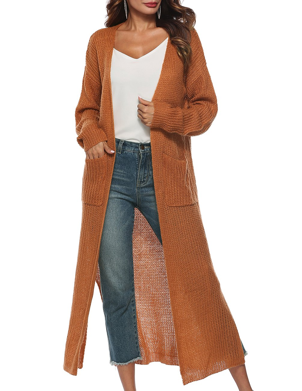 joyliveCY Women's Long Sleeve Solid Open Front Classical Style Cardigan