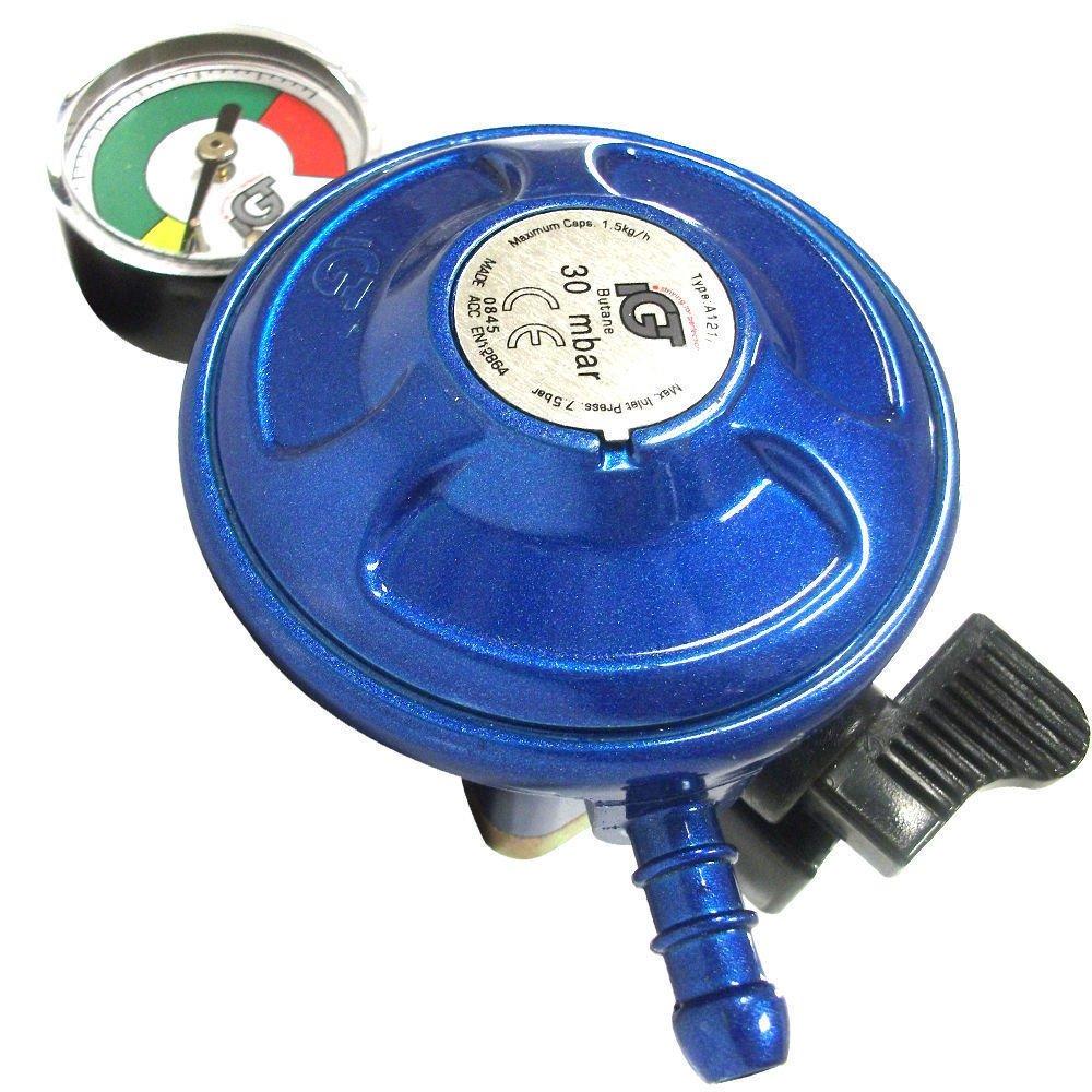 IGT Butane 21mm à Clipser Régulateur de gaz avec Bouchon et manomètre Jauge de Niveau