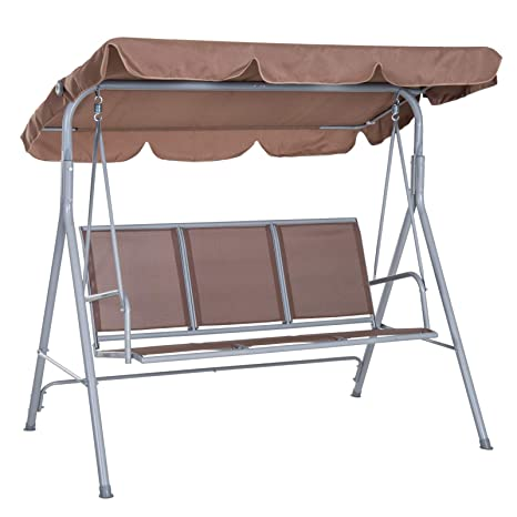 Fabulous Outsunny A Frame 3 Seater Outdoor Swing Chair Garden Hammock Porch Glider Bed Sling Seat W Canopy Cover Brown Pabps2019 Chair Design Images Pabps2019Com