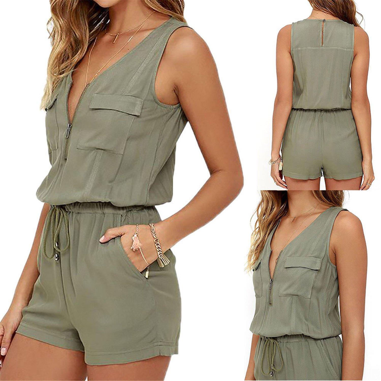 Women Bodysuit Women Jumpsuit Romper V-Neck Pockets Playsuit Beach Army Green L