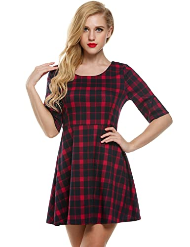 Meaneor Women's 1/2 Sleeves Fit and Flare Plaid Casual Summer Dress